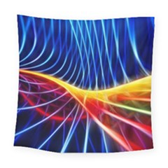 Color Colorful Wave Abstract Square Tapestry (large)