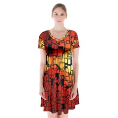 Board Conductors Circuits Short Sleeve V Neck Flare Dress