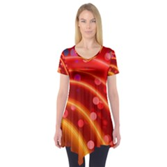 Bokeh Lines Wave Points Swing Short Sleeve Tunic