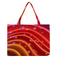 Bokeh Lines Wave Points Swing Medium Zipper Tote Bag