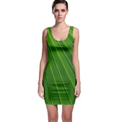 Green Lines Macro Pattern Sleeveless Bodycon Dress