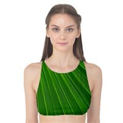 Green Lines Macro Pattern Tank Bikini Top