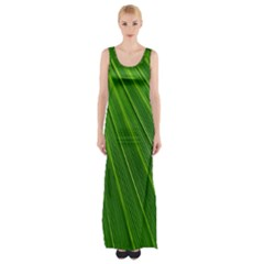 Green Lines Macro Pattern Maxi Thigh Split Dress