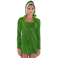 Green Lines Macro Pattern Women s Long Sleeve Hooded T-shirt