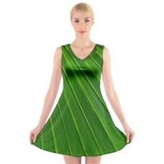 Green Lines Macro Pattern V Neck Sleeveless Skater Dress