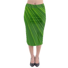 Green Lines Macro Pattern Midi Pencil Skirt