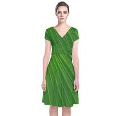 Green Lines Macro Pattern Short Sleeve Front Wrap Dress