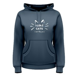 blue i love cats more than you  Women s Pullover Hoodie