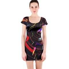 Night View Night Chaos Line City Short Sleeve Bodycon Dress