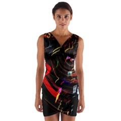 Night View Night Chaos Line City Wrap Front Bodycon Dress
