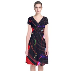 Night View Night Chaos Line City Short Sleeve Front Wrap Dress