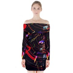 Night View Night Chaos Line City Long Sleeve Off Shoulder Dress