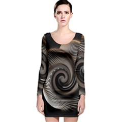 Abstract Background Curves Long Sleeve Bodycon Dress