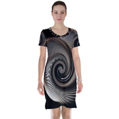 Abstract Background Curves Short Sleeve Nightdress