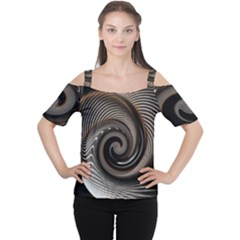 Abstract Background Curves Women s Cutout Shoulder Tee