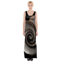Abstract Background Curves Maxi Thigh Split Dress