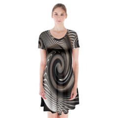 Abstract Background Curves Short Sleeve V Neck Flare Dress
