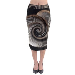 Abstract Background Curves Midi Pencil Skirt