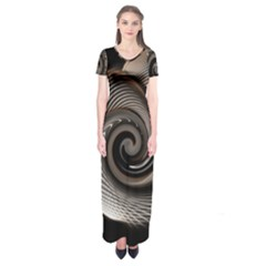 Abstract Background Curves Short Sleeve Maxi Dress