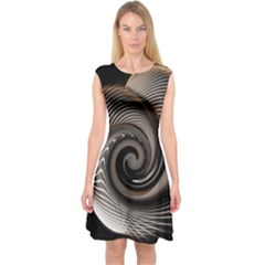 Abstract Background Curves Capsleeve Midi Dress