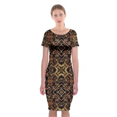 Tribal Geometric Print Classic Short Sleeve Midi Dress