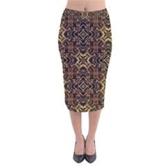 Tribal Geometric Print Velvet Midi Pencil Skirt