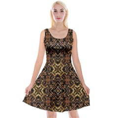 Tribal Geometric Print Reversible Velvet Sleeveless Dress
