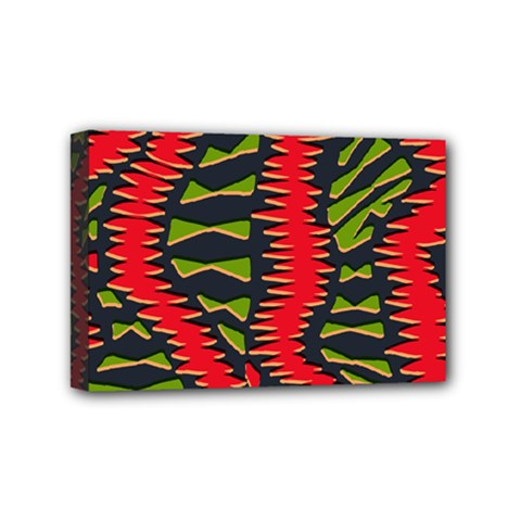 African Fabric Red Green Mini Canvas 6  x 4