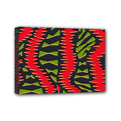 African Fabric Red Green Mini Canvas 7  x 5