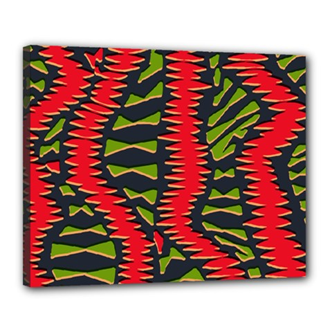 African Fabric Red Green Canvas 20  x 16