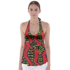 African Fabric Red Green Babydoll Tankini Top