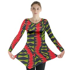 African Fabric Red Green Long Sleeve Tunic