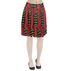 African Fabric Red Green Pleated Skirt