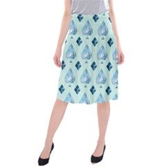 Ace Hibiscus Blue Diamond Plaid Triangle Midi Beach Skirt