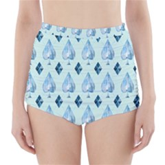 Ace Hibiscus Blue Diamond Plaid Triangle High-Waisted Bikini Bottoms