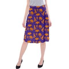 Witch Hat Pumpkin Candy Helloween Purple Orange Midi Beach Skirt