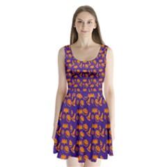 Witch Hat Pumpkin Candy Helloween Purple Orange Split Back Mini Dress