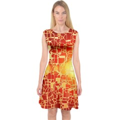 Board Conductors Circuit Capsleeve Midi Dress