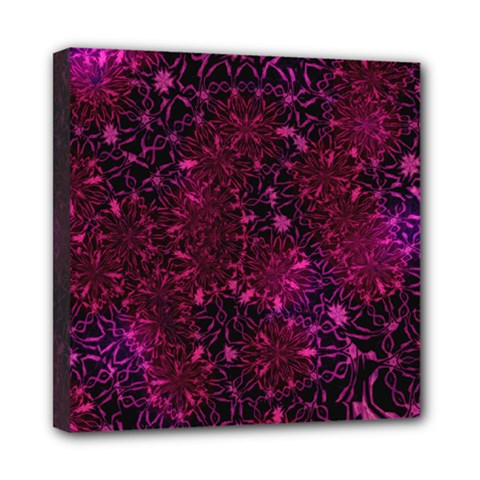 Retro Flower Pattern Design Batik Mini Canvas 8  X 8