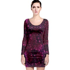 Retro Flower Pattern Design Batik Long Sleeve Bodycon Dress