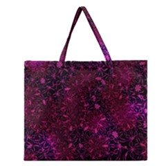 Retro Flower Pattern Design Batik Zipper Large Tote Bag