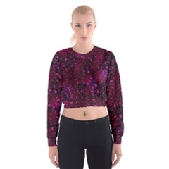Retro Flower Pattern Design Batik Women s Cropped Sweatshirt