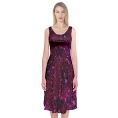 Retro Flower Pattern Design Batik Midi Sleeveless Dress