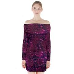 Retro Flower Pattern Design Batik Long Sleeve Off Shoulder Dress