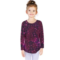 Retro Flower Pattern Design Batik Kids  Long Sleeve Tee