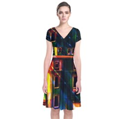 Architecture City Homes Window Short Sleeve Front Wrap Dress