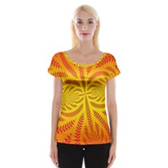 Background Brush Particles Wave Women s Cap Sleeve Top