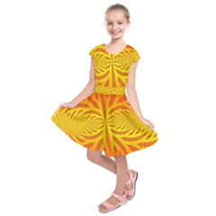 Background Brush Particles Wave Kids  Short Sleeve Dress