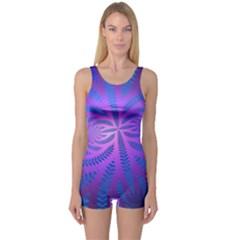 Background Brush Particles Wave One Piece Boyleg Swimsuit