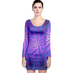 Background Brush Particles Wave Long Sleeve Bodycon Dress